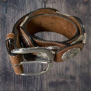 🥀SILVER CREEK Western Leather Silver Concho Belt